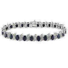 Diamond & Black Sapphire Bracelet Silver (inches): 7