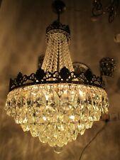 Antique Vnt French Gigantic Crystal Chandelier Lamp Light 1940's 18in Ø diamter-