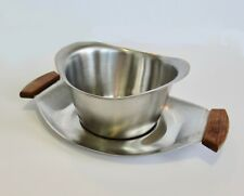 Vintage Mid Century Modern Stainless Steel Gravy Boat on Wood Handle Plate
