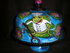 HAND PAINTED CHEF PIERRE COOKING FROG CAKE PLATE/PUNCH BOWL(MADE IN THE USA)