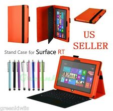 Orange Leather Stand Case w/ Keyboard Holder For Microsoft Surface RT /Surface 2