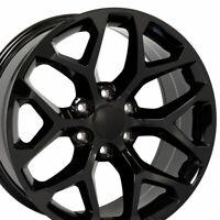 22x9 Wheel Fits Chevrolet Silverado Sierra Suburban RST Blk Mach/'d Rim 5821