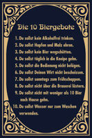 10 Biergebote Bier Gebote Blechschild Schild gewölbt Metal Tin Sign 20 x 30 cm