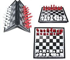 FOLDING MAGNETIC CHESS BOARD - FANCY RED & BLACK COLOR PIECES WITH INSTRUCTION