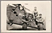 FRENCH BIPLANE CREW PILOTS WW1 FIGHTER OBSERVATION ANTIQUE PHOTO POSTCARD RPPC