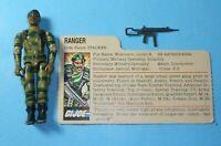 1983 GI Joe Army Ranger Stalker v1.5 Swivel Arm Figure File Card *Complete READ!