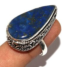 Vintage Style Ring Us 8 O-3254 Lapis Lazuli 925 Silver Plated