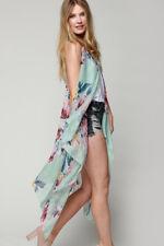 Womens Floral Sleeveless Long Cardigan Vest Tank Top Boho Summer Black White