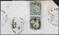 1850 New South Wales 2d Deep Blue Superb Pair with DOUBLE COMPARTMENT LINES top