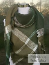 Plaid Blanket scarf, Zara inspired Oversized Scarf, Olive green, Forest Green