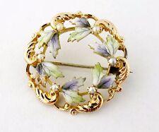 Antique Victorian 14K Gold Enamel Enameled Leaves Wreath Brooch Pin