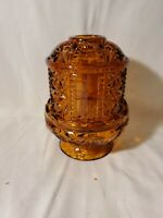 Vintage Indiana Amber Glass Fairy Lamp Light  Stars and Bars Candle Holder