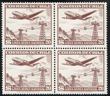CHILE 1951 AIR MAIL STAMP # 513 MNH BLOCK OF FOUR AIRCRAFT