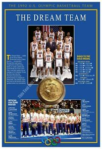 THE 1992 USA OLYMPIC BASKETBALL TEAM — THE DREAM TEAM — COMMEMORATIVE POSTER
