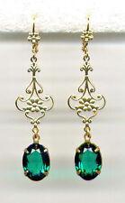 ☘️EMERALD green☘️ crystal Antique Gold Floral Drop Earrings 14K gp Celtic Irish