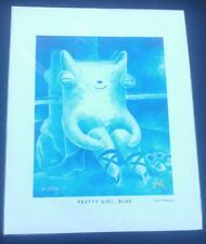 Justin Hillgrove ORIGINAL hand signed print pretty girl blue FREE SHIPPING USA