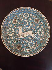 Vintage Greek Pottery Lg PLATE Hand Painted Gazelle Lindos Keramik Rodos Greece