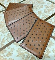 Coach Men's Saddle Brown Leather in Rivets Zip Card Case Wallet 38142 BN