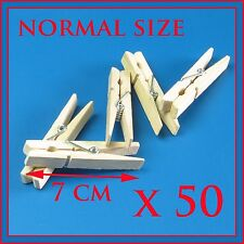X 50 Extra Strong Wooden Clothes Pegs Washing Line Spring Coiled Hanging Dry SYD
