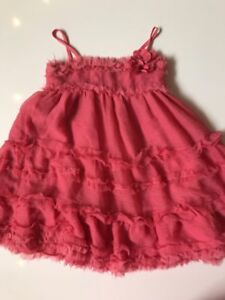BABY GAP Coral Pink Ruffle Dressy Holiday Party Dress Watercolor Size 3 3T D11