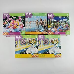 Lot of 5 EZ Grasp 300 Piece Jigsaw Large Extra Thick Pieces Puzzles Complete