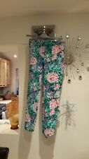ZARA Woman GREEN FLORAL Pants Trousers SIZE M