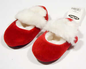 OLD NAVY NWT GIRLS 12M 18M SHOES CHRISTMAS HOLIDAY SANTA RED WHITE FAUX FUR