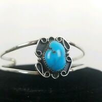 VTG Sterling Silver Navajo Signed Turquoise Inlay Delicate Cuff Bracelet