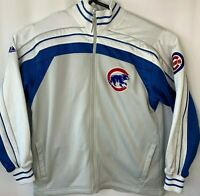 Mens Authentic Majestic Chicago Cubs Full Zip Heavy Duty Track Jacket Size Large