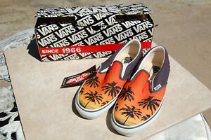 Vans Classic Slip-On Shoes Aloha Red/Charcoal Sunset Palm Trees NEW IN BOX 9