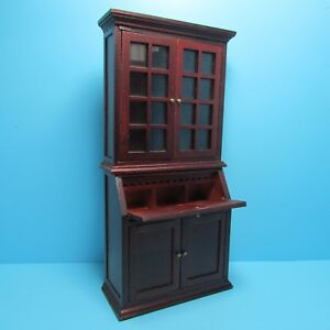 Dollhouse Miniature Bookcase with Cabinet and Desk in Mahogany ~ T3341