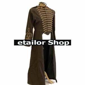 New Brown Steampunk Millitry full length coat front braids and brass button Sale