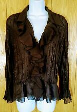 Clothing By Notations Womens Size Petite L Sheer Blouse Ruffle Front & Sleeves