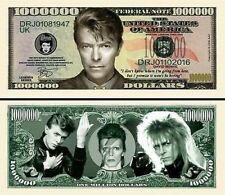 DAVID BOWIE One Million Dollar Bill Note $1000000 BUY 2 GET 1 FREE