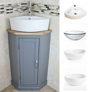 Grey Painted   Bathroom Corner Compact Vanity Unit   Ceramic & Glass Basin
