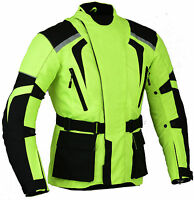 Green Hi Visibility Motorbike Motorcycle Jacket Hivis Hiviz Waterproof Vented