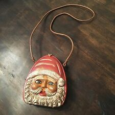 TIMMY WOODS HAND CARVED WOODEN SANTA FACE HANDBAG PURSE