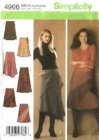 Simplicity Sewing Pattern 4966 Misses Flared Asymmetrical Skirts Size 6-12 UC