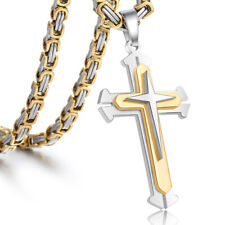 "22"" Men's Gold Silver Stainless Steel Cross Necklace Pendant Byzantine Chain"