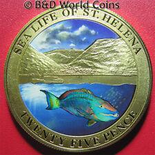 2013 SAINT HELENA 25 PENCE COLORED NAPOLEON FISH SEA LIFE MOUNTAIN PRF-LIKE 38mm