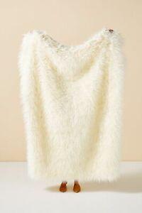 "NWT Anthropologie Makura Faux Fur Cream 60"" x 50"" Throw Blanket"
