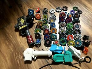 Takara Tomy Beyblade Huge Lot of 38 and parts Rare with Launcher