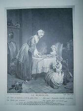 Planche gravure La bénédicité d'après un tableau de Chardin exposé en 1740