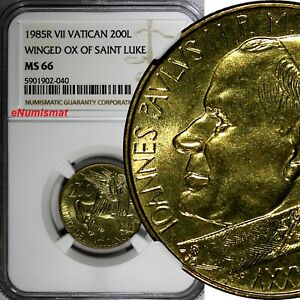 Vatican City John Paul II 1985R VII 200 Lire NGC MS66 TOP GRADED KM# 189 (040)