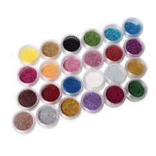 24 Farben Metall glänzend Glitzer Nail Art Werkzeug Set Acryl UV Pulver Staub