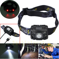 USB Rechargeable Head Torch CREE LED Headlight Lamp Camping Induction Headlamp