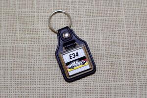 BMW E34 Keyring - 5-Series Leatherette & Chrome Keytag 518 520 525