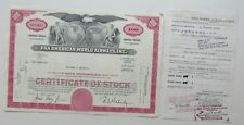 Stock Certificate For Pan American World Airways Inc. w/ Trade In Rec't 1975