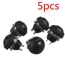5Pcs 12mm Waterproof Momentary ON/OFF Push Button Mini Round Switch Black