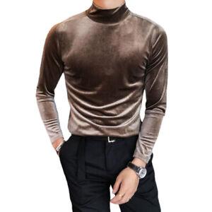 Mens Velvet Long Sleeve T-shirt Turtle High Neck Tops Tee Shirt Stretch Slim